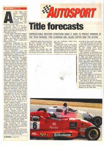 Formula Ford 1800 Zetec Giorgio Vinella 1995 article Autosport Snetterton race