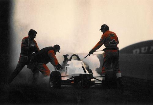 Formula Ford 1800 Zetec Giorgio Vinella Donington Park 1995 Autosport and motoring news car on fire old hairpin marshals