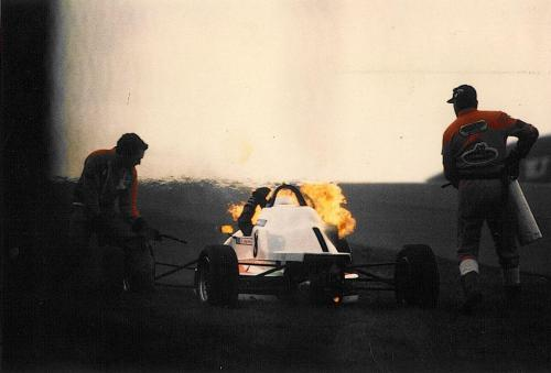Formula Ford 1800 Zetec Giorgio Vinella Donington Park 1995 Autosport and motoring news car on fire old hairpin marshals 1