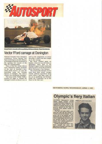 Formula Ford 1800 Zetec Giorgio Vinella Donington Park 1995 articles Autosport and motoring news car on fire old hairpin