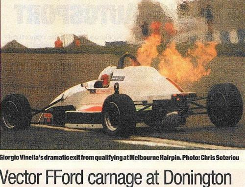 Formula Ford 1800 Zetec Giorgio Vinella Donington Park 1995 slick50 british championship picture Autosport car on fire old hairpin