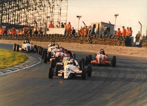 Formula Ford 1800 Zetec Giorgio Vinella October 1995 Festival Brands Hatch indy circuit win semifinal leading paddock corner final