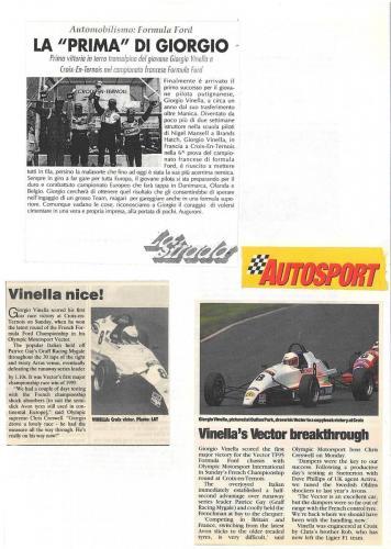 Formula Ford 1800 Zetec Giorgio Vinella 1995 articoli Autosport e motoring news vittoria gara Campionato Francese Croix en Ternois