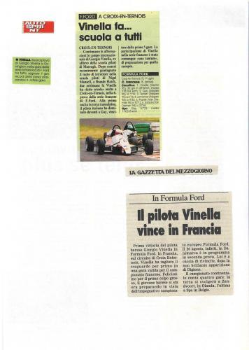 Formula Ford 1800 Zetec Giorgio Vinella 1995 articoli Autosprint e Gazzetta del MezzogioCampionato Francese gara Croix en Ternois vittoria gara