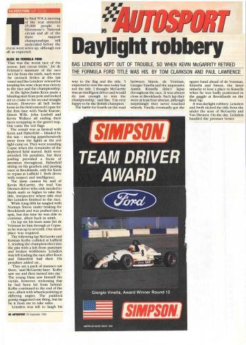 Formula Ford 1800 Zetec Giorgio Vinella 1995 articolo Autosport premio Ace of the Race