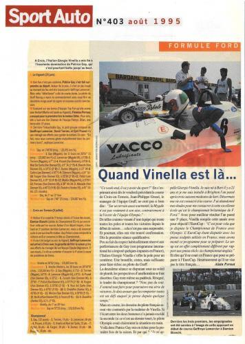 Formula Ford 1800 Zetec Giorgio Vinella 1995 articolo SportAuto Campionato Francese gara Croix en Ternois vittoria gara