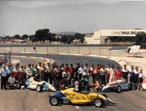 Formula Ford 1800 Zetec Giorgio Vinella 1995 foto di gruppo Campionato Francese gara Paul Ricard Le Castellet