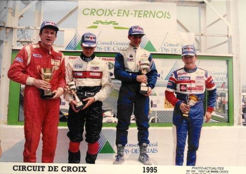 Formula Ford 1800 Zetec Giorgio Vinella 1995 foto podio Campionato Francese gara Croix en Ternois vittoria con Patrice gay e David Terrien 1