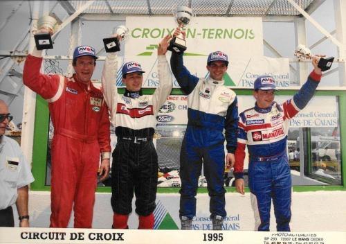 Formula Ford 1800 Zetec Giorgio Vinella 1995 foto podio Campionato Francese gara Croix en Ternois vittoria con Patrice gay e David Terrien 2