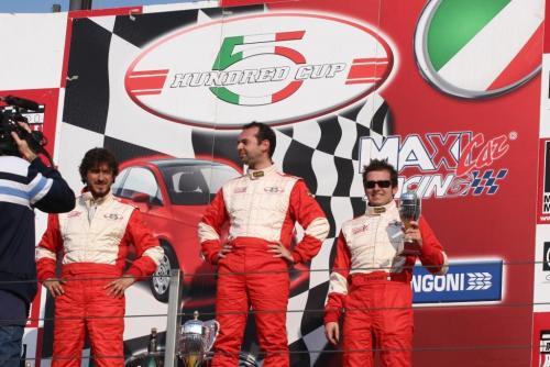 Giorgio Vinella 2008 Fiat 500 Abarth Italian Championship Vallelunga Podium Win victory Miconi Rondinelli 2
