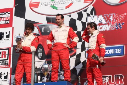 Giorgio Vinella 2008 Fiat 500 Abarth Italian Championship Vallelunga Podium Win victory Miconi Rondinelli 3