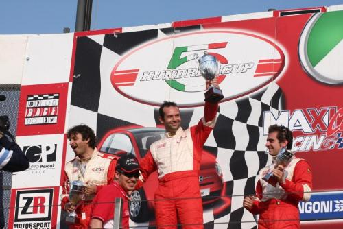 Giorgio Vinella 2008 Fiat 500 Abarth Italian Championship Vallelunga Podium Win victory Miconi Rondinelli 4