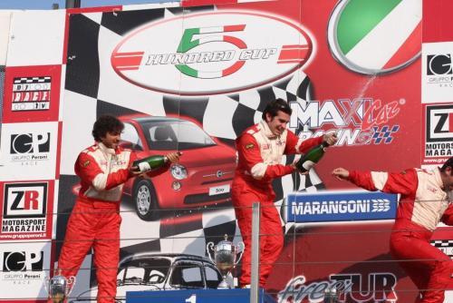 Giorgio Vinella 2008 Fiat 500 Abarth Italian Championship Vallelunga Podium Win victory Miconi Rondinelli 7