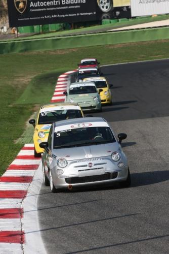 Giorgio Vinella 2008 Fiat 500 Abarth Italian championship Vallelunga win victory Leader corner left right