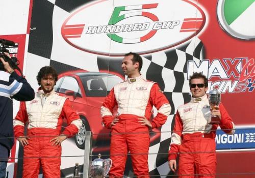 Giorgio Vinella 2008 Fiat 500 Abarth Campionato Italiano Vallelunga Podio Vittoria Miconi Rondinelli