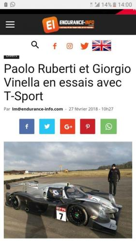 Giorgio Vinella Test LMP3 Team T-Sport Team Virage UK Valencia Paolo Ruberti endurance-info.com news