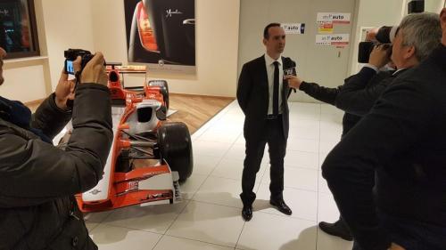 Giorgio Vinella evento Alfa Stelvio concessionaria In-Auto Putignano intervista Telenorba con Spyker Formula 1