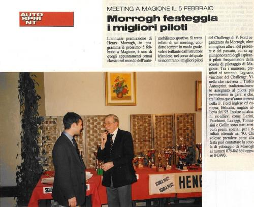 Giorgio Vinella Autosprint magazine   most promising driver award 1993