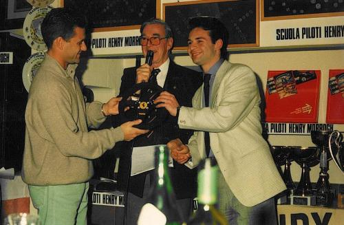 Giorgio Vinella Autosprint magazine  most promising driver award 1993 given by Nicola Larini  Ferrari F1 steering wheel 1