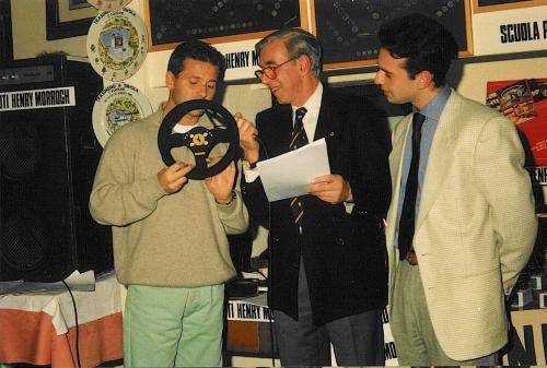 Giorgio Vinella Autosprint magazine  most promising driver award 1993 given by Nicola Larini  Ferrari F1 steering wheel 2